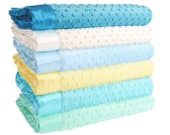 Minky Dot Baby Blankets - Turquoise Cream Collection