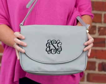 Grey Anna Monogrammed Crossbody Purse, Personalized Bag