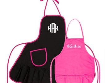 Mommy and Me Black and Hot Pink Aprons with Ruffles and Embroidery Personalization