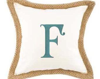 Monogram Cream Canvas with Jute Trim Pillow Cover
