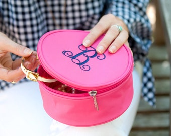 Hot Pink Jewelry Travel Case with Monogram