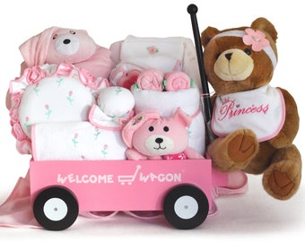 Pretty In Pink Super Deluxe Welcome Wagon Baby Girl Gift