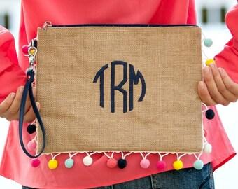 Pom Pom Trim Burlap Zip Clutch, Personalized Burlap Pouch