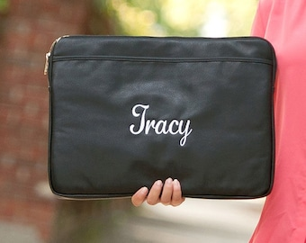 Black Monogrammed Laptop Sleeve, Personalized Computer Case
