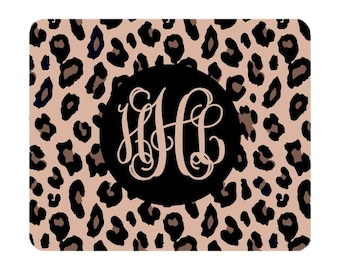 Monogram Leopard Mouse Pad - Black