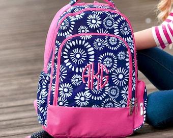 Riley Girls Monogrammed Backpack, Monogram Book Bag, Back to School