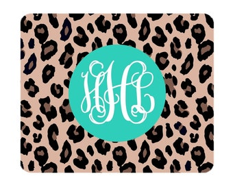 Monogram Leopard Mouse Pad - Mint