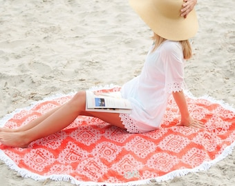 Coral Cove Sand Circle Monogrammed Beach Towel, Personalized Summer Towels