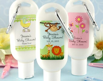 Carabiner Sun Screen 1.5 oz Personalized Baby Shower Favors - Many Designs