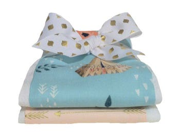 Teepees and Roses Burp Cloth Set