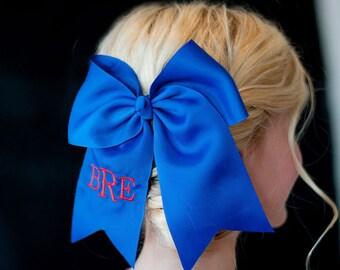 Royal Blue Monogram Jumbo Hair Bow, Personalized Girl's Bows