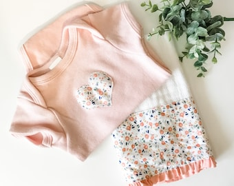 Tiny Floral Burp Cloth and Onesie