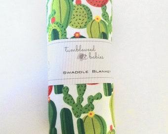Green Cactus Flannel Baby Receiving Blanket/Swaddle Blanket