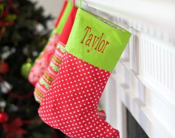 Merry Dot Christmas Stocking