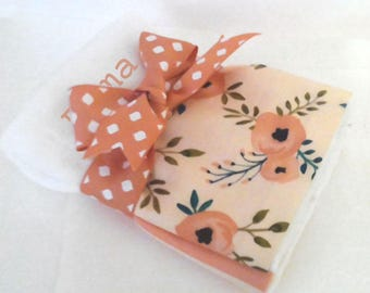 Just Peachy Personalized  Burp Cloth Set