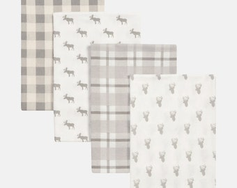 Stag and Moose 4 Pack Flannel Baby Blankets