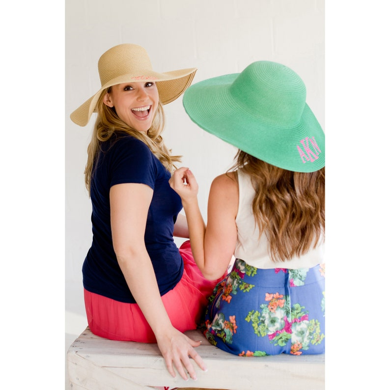 Mint Floppy Hat with Monogram for Women