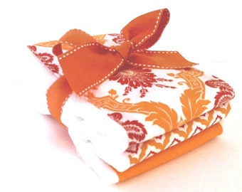 Starburst Orange Burp Cloths - Set of Three Burp Cloths