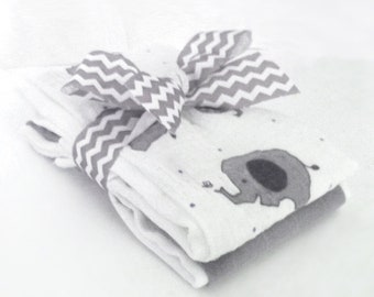 Cheerful Elephants Muslin Gauze Burp Cloths - Baby Shower Gift