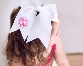White Monogram Jumbo Hair Bow, Personalized Girl's Bows
