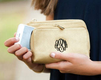 Gold Sloane Wristlet, Personalized Bag
