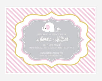 Pink Elephant Personalized Invitations