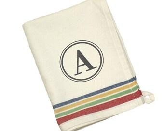 Multi-Color Stripe Vintage Dish Towel with Monogram Personalization