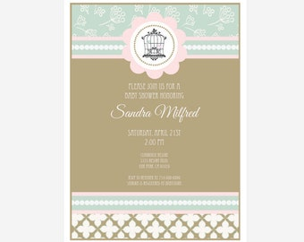 Birdcage Personalized Baby Shower Invitations