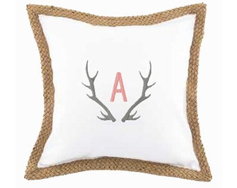 Monogram White Canvas with Jute Trim Pillow Cover