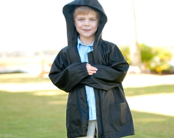 Kids Black Personalized Rain Jacket