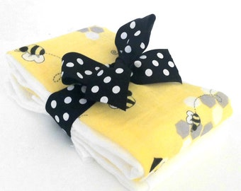 Bees Knees Muslin Gauze Burp Cloths - Baby Shower Gift