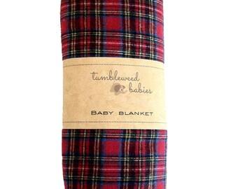 Plaid Baby Receiving Blanket /Swaddle Blanket/Newborn Flannel Blanket