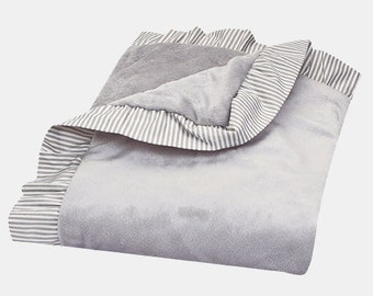 Dove Gray Ruffled Trimmed Baby Blanket