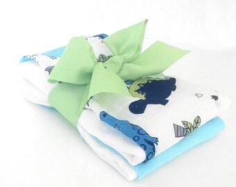 Dinosaur Muslin Gauze Burp Cloths - Baby Shower Gift