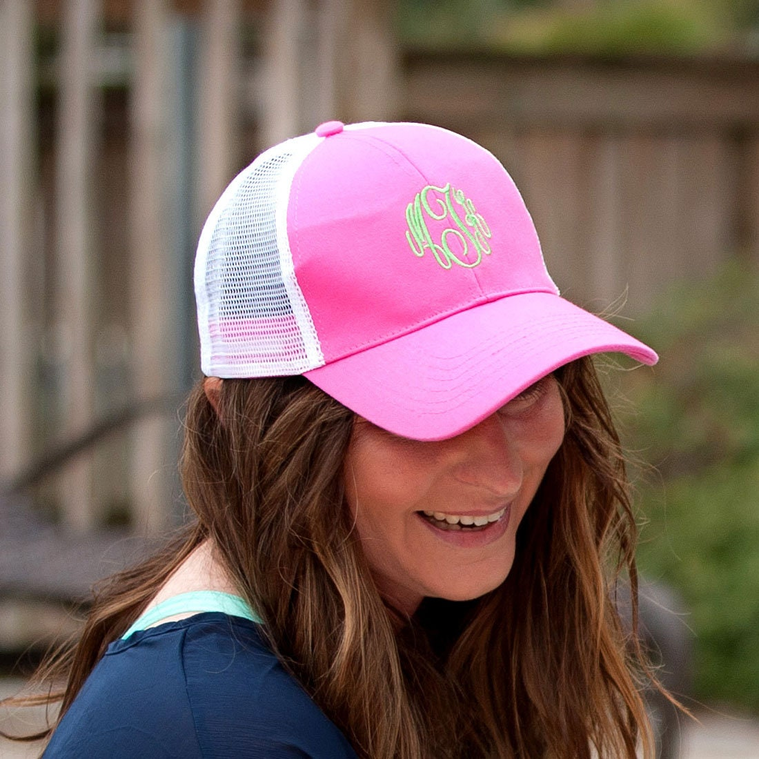 91ad3c8a9f1b3 Monogram Hot Pink Trucker Cap for Women
