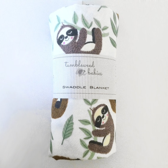 Happy Sloths on a branch SwaddleReceiving Blanket Flannel cotton