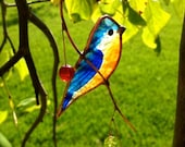 Sideview Bluebird with Berries stained glass suncatcher
