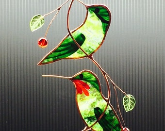 Stained Glass Pair of Hummingbirds