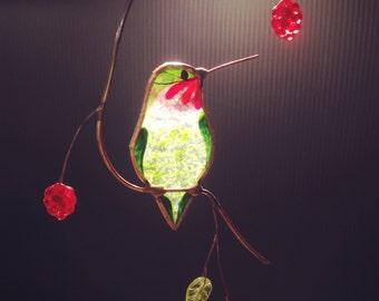 Colibri avec baies vitrail suncatcher