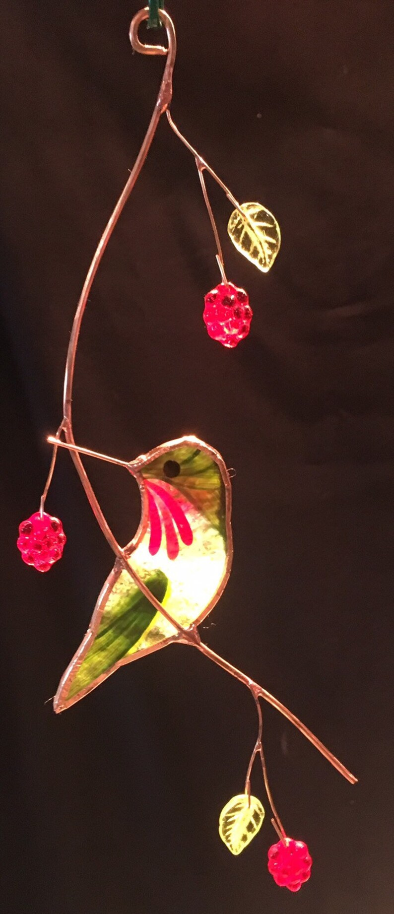 Turned Hummingbird with Berries stained glass suncatcher image 0