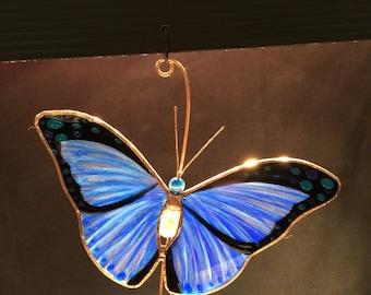 Blue Morpho Butterfly stained glass suncatcher