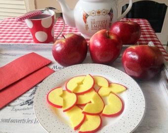 Felt Red Apple Slice, Pretend Play Food Salad Cake Pancake Dessert Ice Cream Fruits, Kids Kitchen Montessori Preschool Toy, Decor Decoration