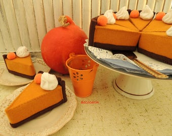 Felt Pumpkin Pie, Felt Cake, Play Felt Food Montessori Toy, Home Kids Party Halloween Thanksgiving Table Decor Ornament Decoration Gift