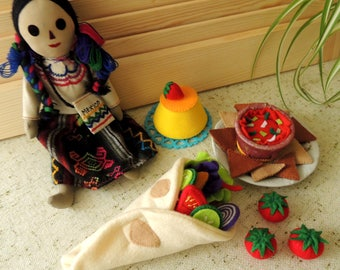 Felt Food Set Mexican Tortilla, Set Eco friendly children pretend play food for toy kitchen. Felt Chicken Vegetables Salsa, Montessori Toy