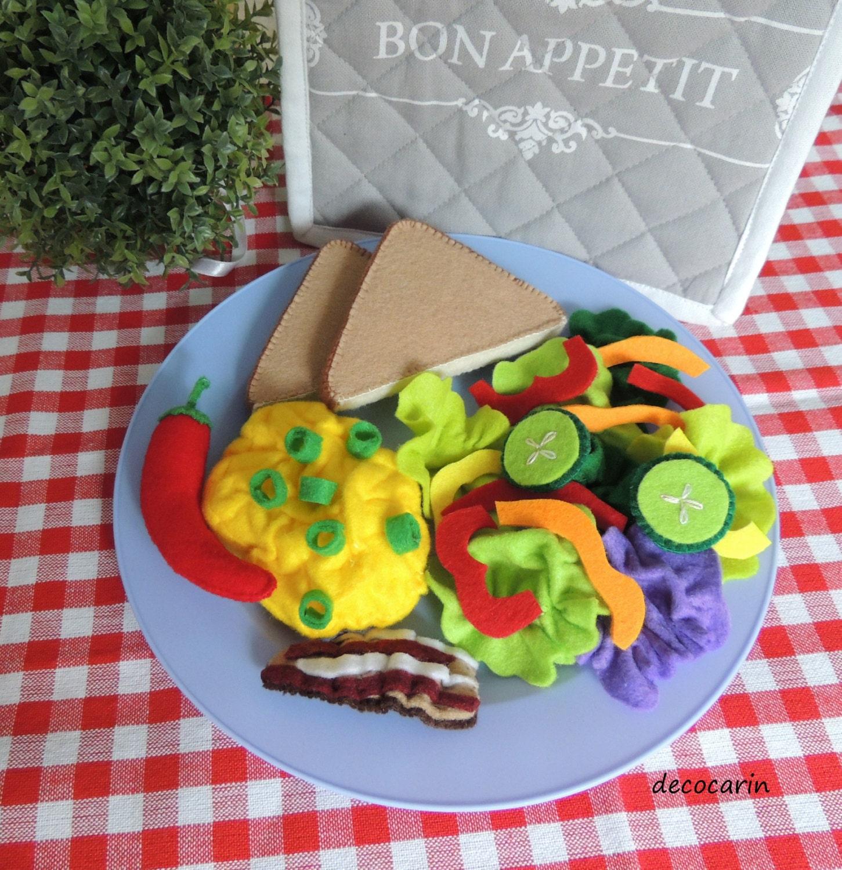 Filz spielen Essen Set Frühstück Filz Speck Ei Gemüse | Etsy