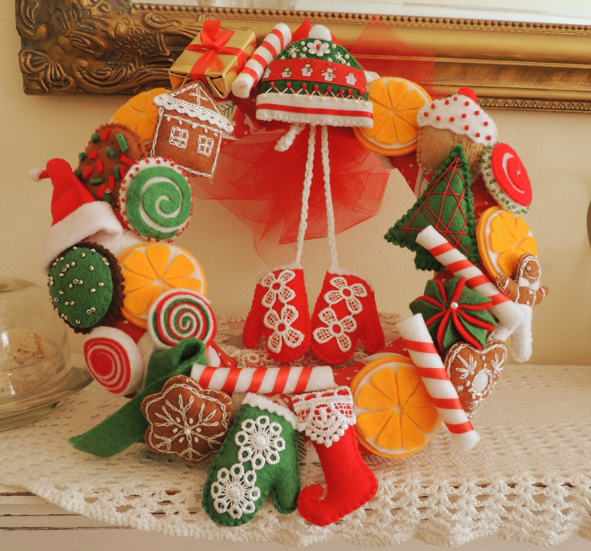 Christmas Wreath Felt Wreath Felt Home Decor Christmas Party Decor Christmas Decoration Felt Decoration Christmas Ornament Felt Food
