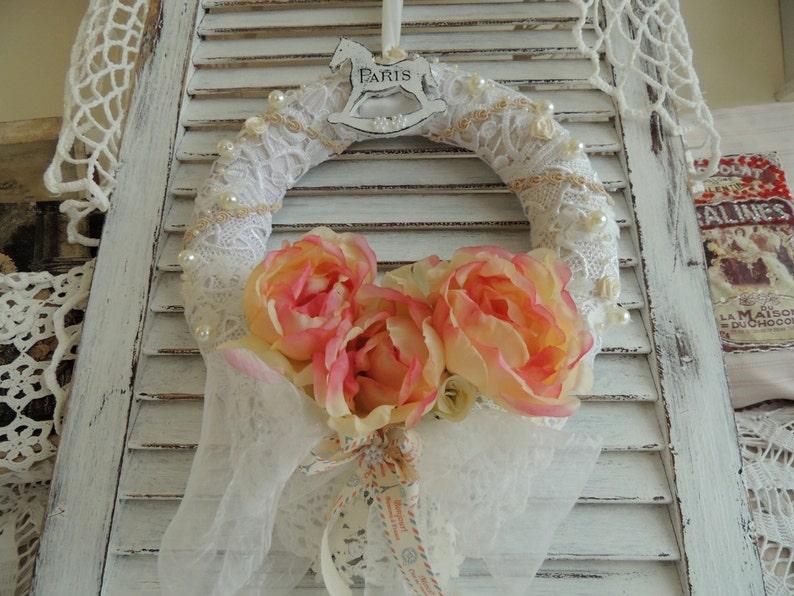 Vintage Inspired French Paris Bedroom Decor Decoration Shabby Chic Wreath Birthday Gift Door Wreath Shabby Wreath Spring Floral Wreath