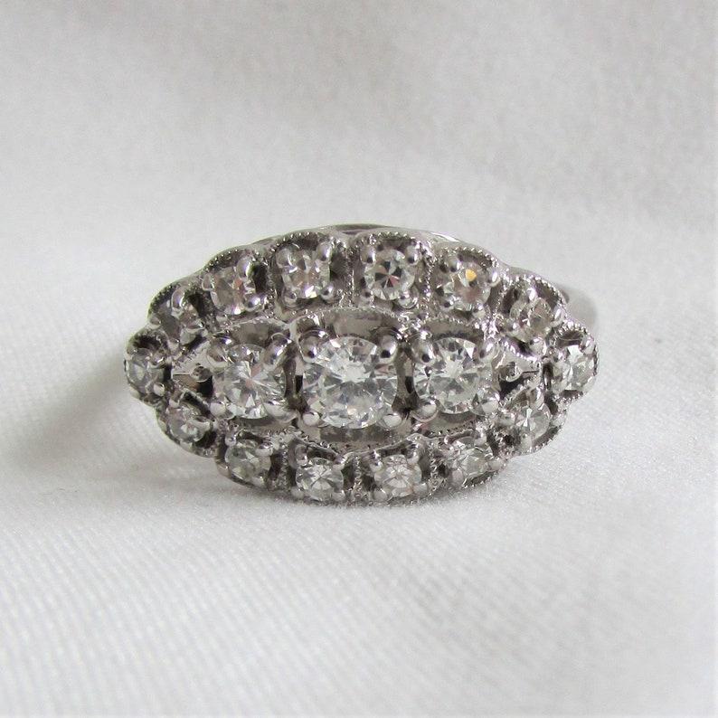 6fd5e534b50f3 Princess Ring .86 CTW - SI Clarity, H color Diamonds! Vintage Diamond  Cluster Navette Ring GIA Graduate Gemologist Appraisal Incl 1,850 Usd!