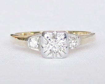 For Kayla Only! Vintage Two Tone Petite Diamond Engagement, Promise, or Right Hand Ring - So Sweet and Sparkly!