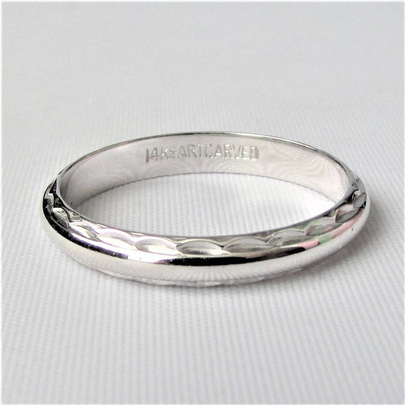 c97d9aa9dba26 J.R. Wood and Sons Art Carved 14k White Gold Slender Vintage Wedding Band  Ring!